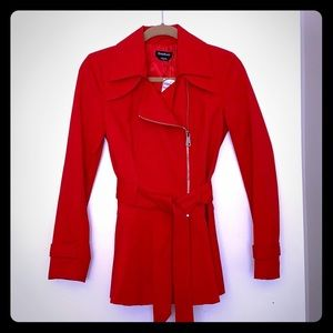 Red Trench Coat with Peplum Detail
